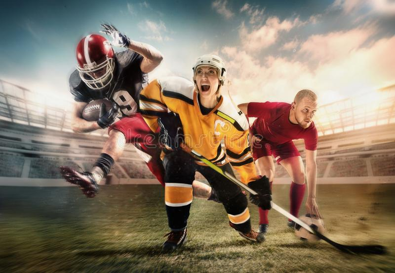 Multi colagem dos esportes sobre jogadores do hóquei em gelo, do futebol e de futebol americano no estádio imagens de stock