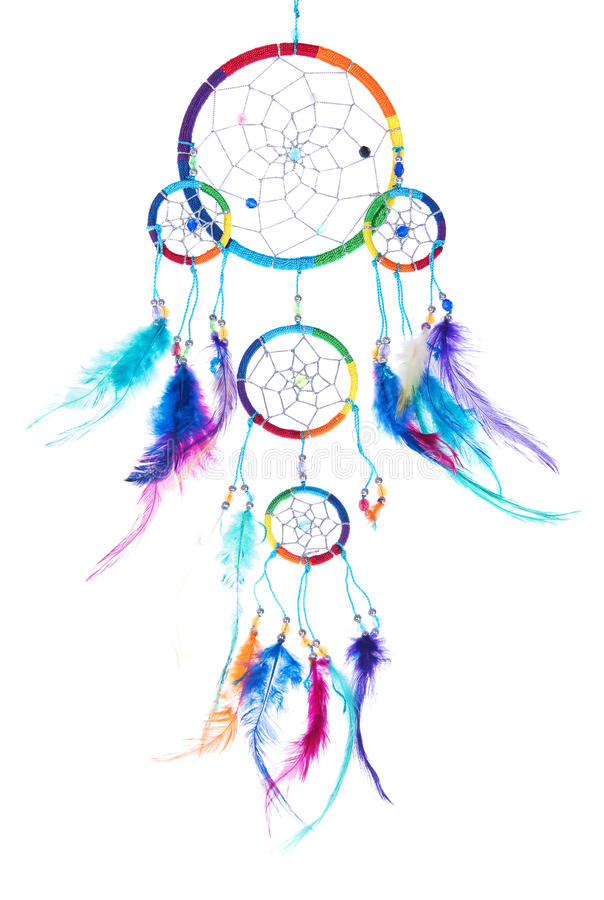 Multi collettore di sogno colorato con le piume, con le perle, orlo royalty illustrazione gratis