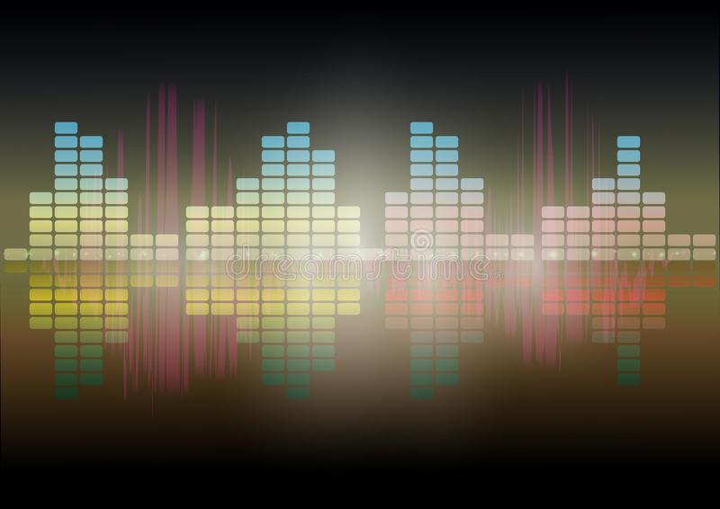 Multi color Audio waveform technology background Digital equalizer technology abstract Vector image. The Multi color Audio waveform technology background Digital royalty free illustration