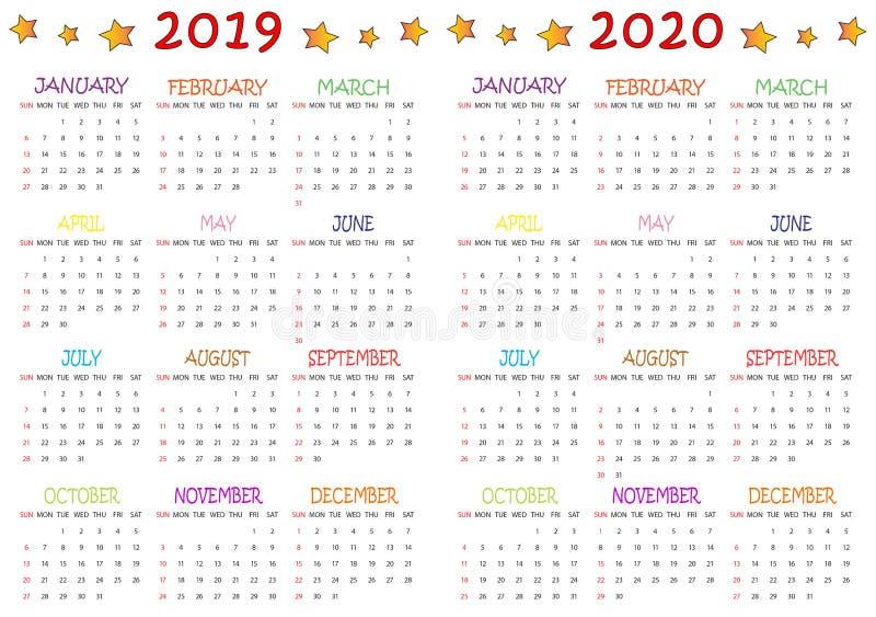 Colored 2019-2020 Calendar for Kids stock illustration