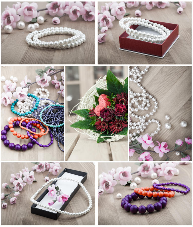 Multi color coral bangles and artificial pearls royalty free stock images