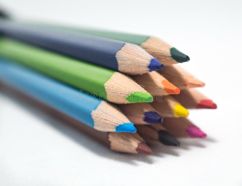 Multi color crayons bundle royalty free stock photos