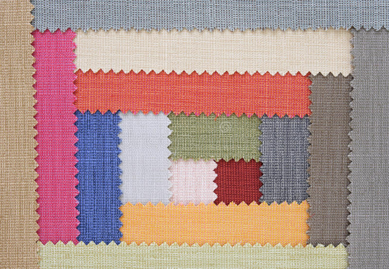 Multi color fabric texture samples stock photo