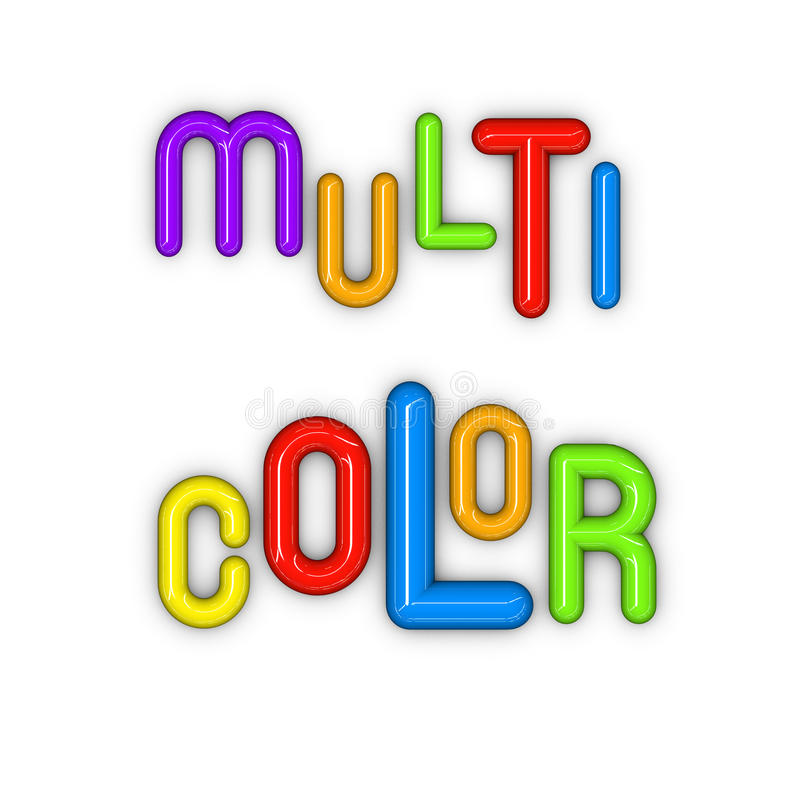 Multi Color In Glossy 3d Fonts Stock Image