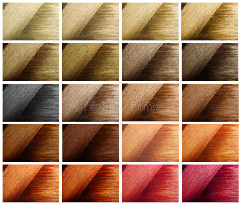 Multi color hair sample swatches. Perfect healthy dyed hair color samples. Multi color hairstyle palette swatches. Various hair tints set stock image
