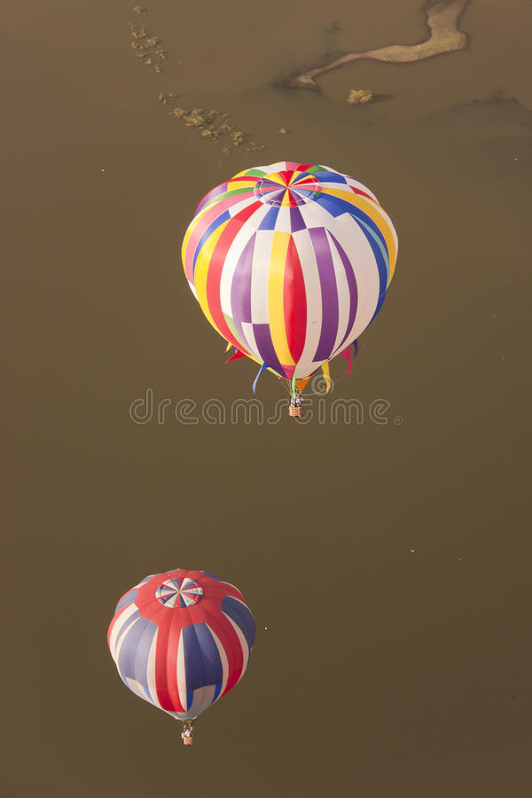 Multi Color Hot Air Balloons In Flight Royalty Free Stock Image