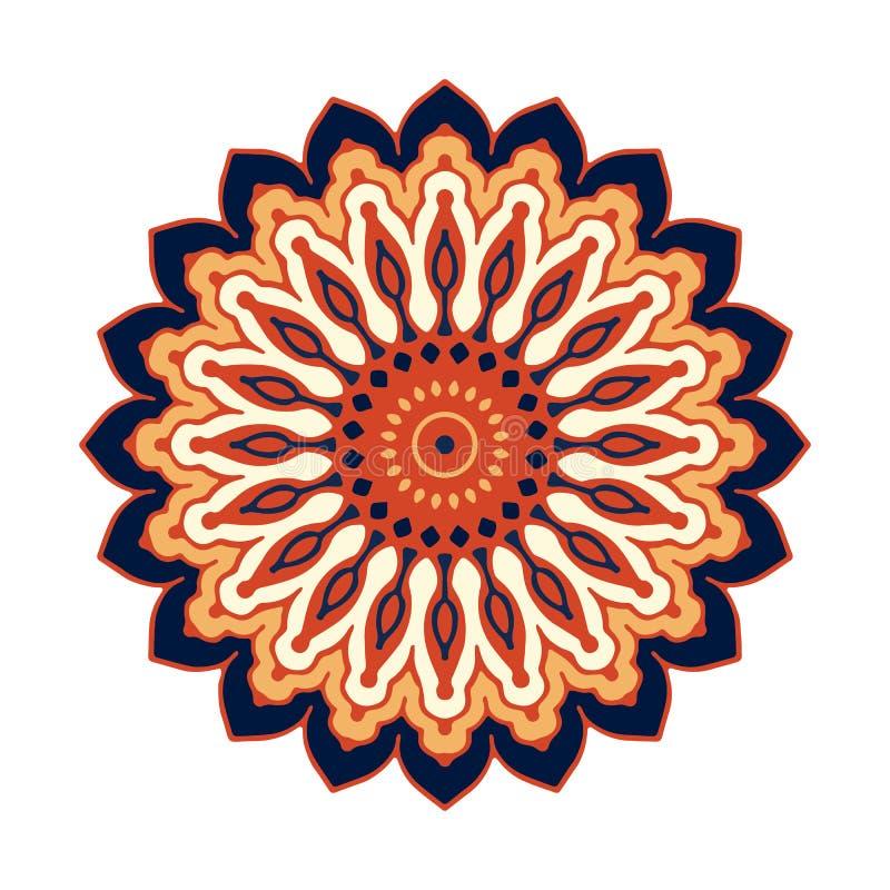 Multi-color  mandala isolated on white  background stock illustration