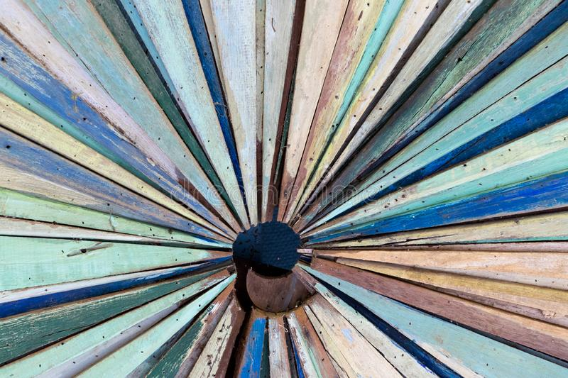 Multi color of grunge wood panel as radial shape background stock images