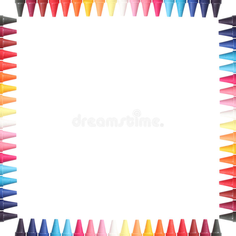 Multi color pastel(crayon) pencils border isolated royalty free stock photography