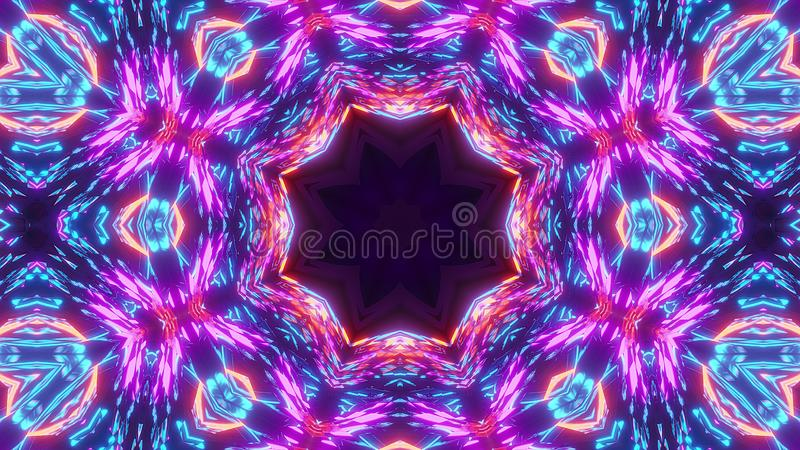 Multi color scifi kalaidoscope with glowing pattern royalty free illustration