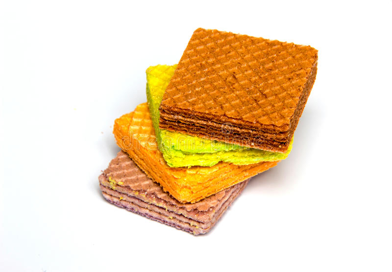 Multi color wafer on white background. Close up multi color wafer on white background stock photos