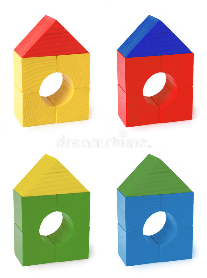 Free Multi Color Wood Toy Houses Royalty Free Stock Photo - 12262885