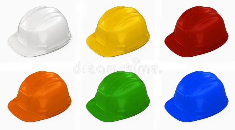 multi colore dell'illustrazione 3D del casco della costruzione illustrazione vettoriale