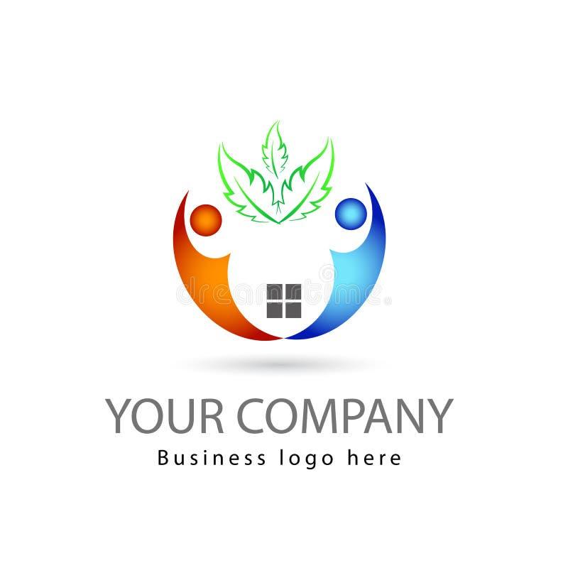 Multi colore due persone del lavoro di gruppo insieme nel fondo bianco con il logo di vettore del margine delle foglie verdi royalty illustrazione gratis