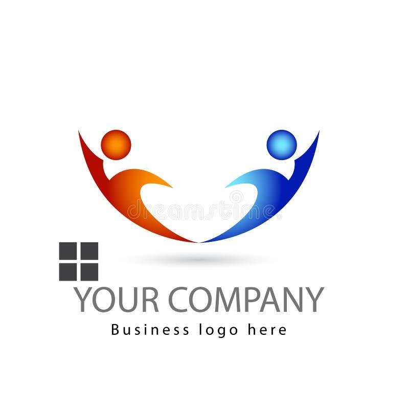 Multi colore due persone del lavoro di gruppo insieme nel logo bianco di vettore del fondo illustrazione di stock