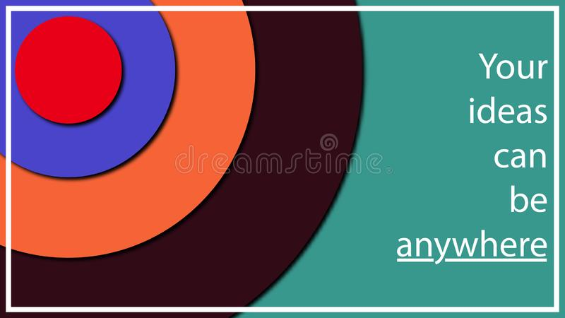 Multi-colored abstract illustration in the form of different diameter circles at different heights from each other. Volume effect vector illustration