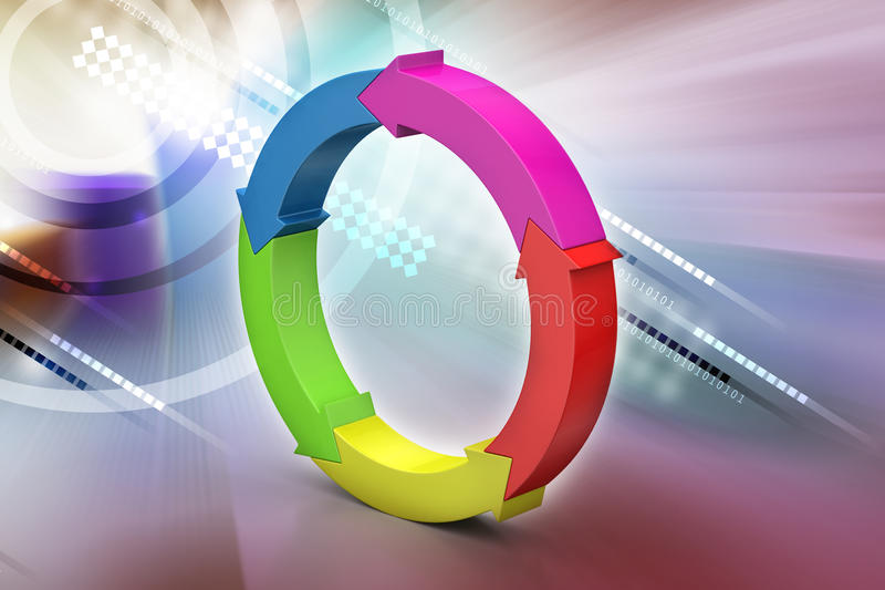 Multi colored arrow circle. In color background vector illustration
