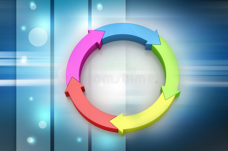 Multi colored arrow circle. In color background royalty free illustration