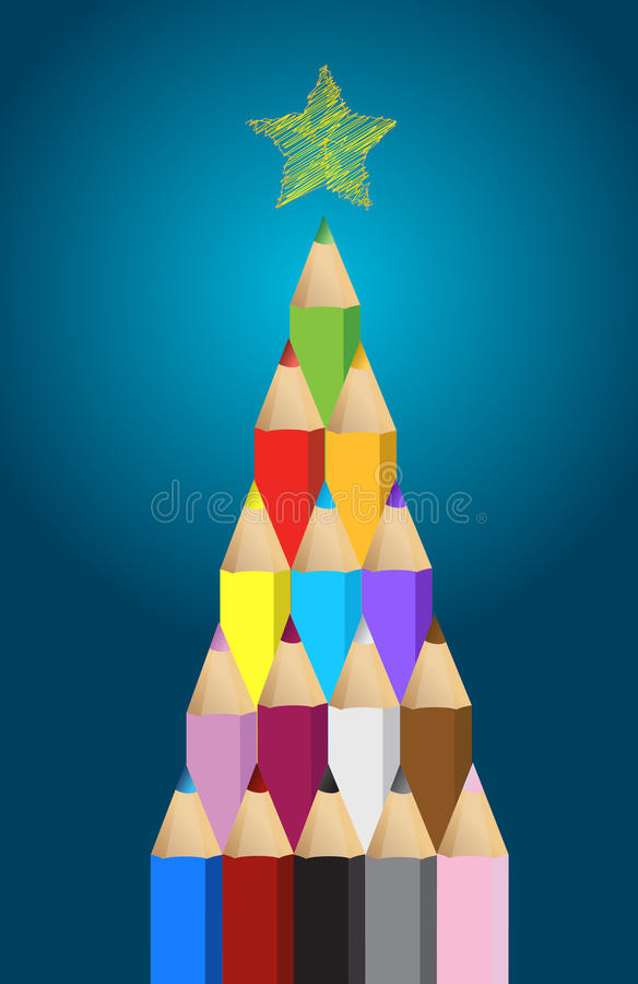 Download Multi Colored Art Pencils In Christmas Pine Tree Stock Illustration - Image: 28982471