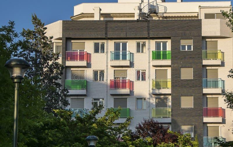 Multi-colored balkons royalty-vrije stock afbeeldingen