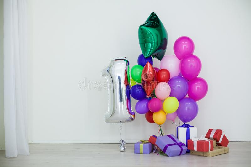 Multi-colored balloons and gifts for the holiday royalty free stock photo