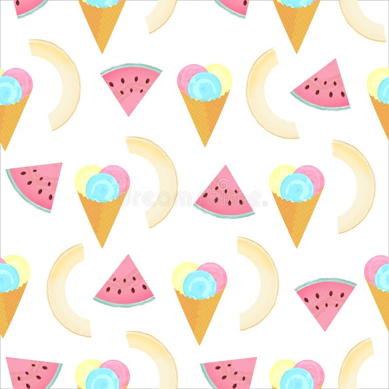 Multi-colored balls of ice cream in a waffle cone. Slices of watermelon and melon. Summer seamless pattern stock illustration