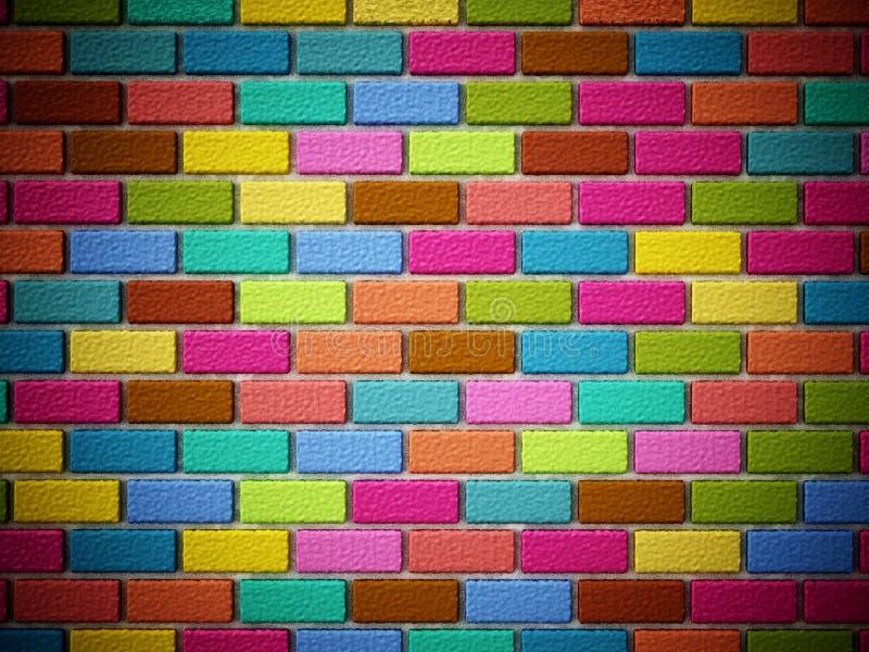 Multi colored bricks forming a wall. 3D illustration vector illustration