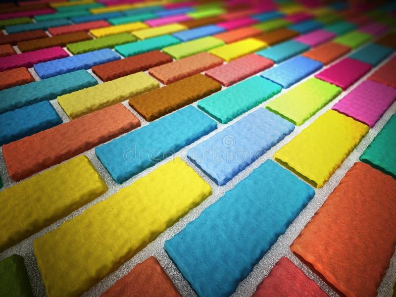 Multi colored bricks forming a wall. 3D illustration royalty free illustration