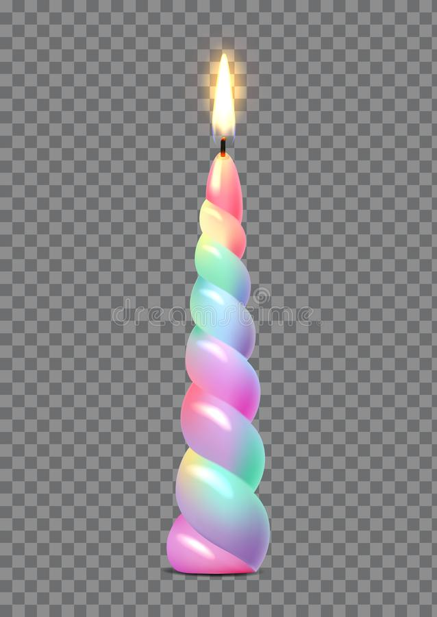 Multi-colored burning candle, decoration for a birthday, vector. Illustration vector illustration