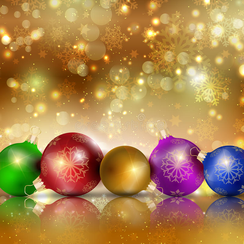 Multi-colored Christmas balls on a gold background royalty free stock photo