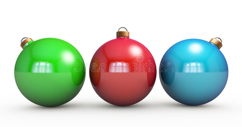 Multi-colored Christmas balls hanging on white. RGB colors. 3d r. Ender with HDR stock images