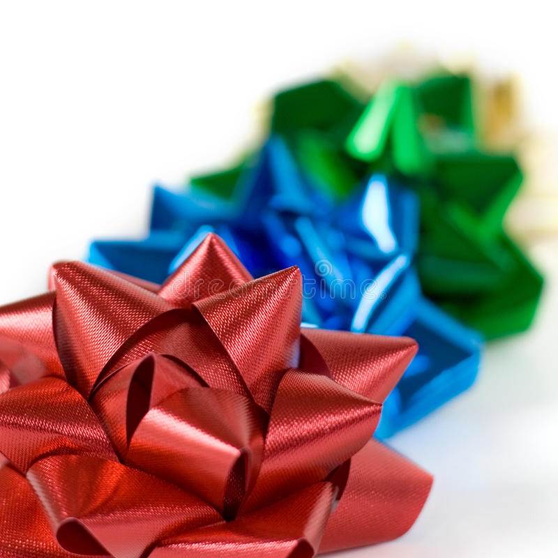 Multi-colored Christmas Bows royalty free stock image