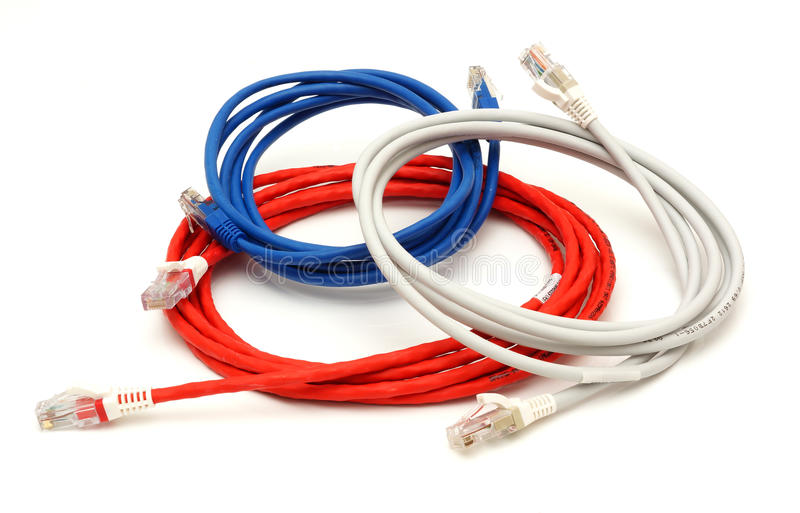 Multi colored computer network cables with clipping path stock photography