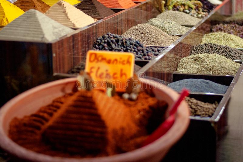 Multi-colored dried fruits and tea in the oriental bazaar. Multi-colored dried fruits and tea in the oriental bazaar stock image