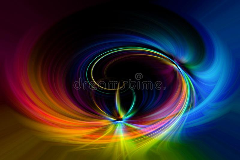 Multi colored fantasy vortex swirl spin background stock illustration