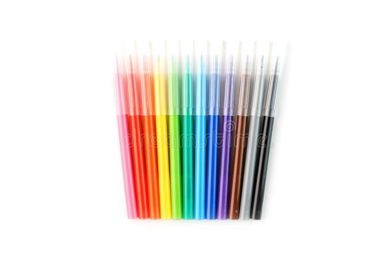 Multi-colored felt-tip pens, markers on a white isolated background stock photos