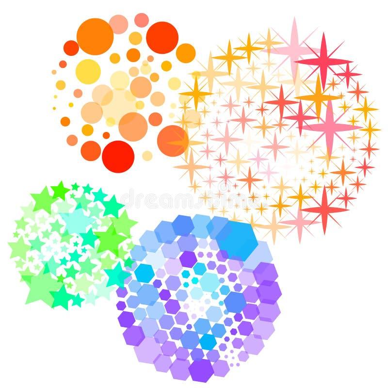 Fireworks. Multi-colored fireworks flashes on a transparent background. Vector illustration royalty free illustration