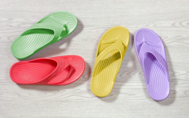 Multi-colored Flip Flops stock images