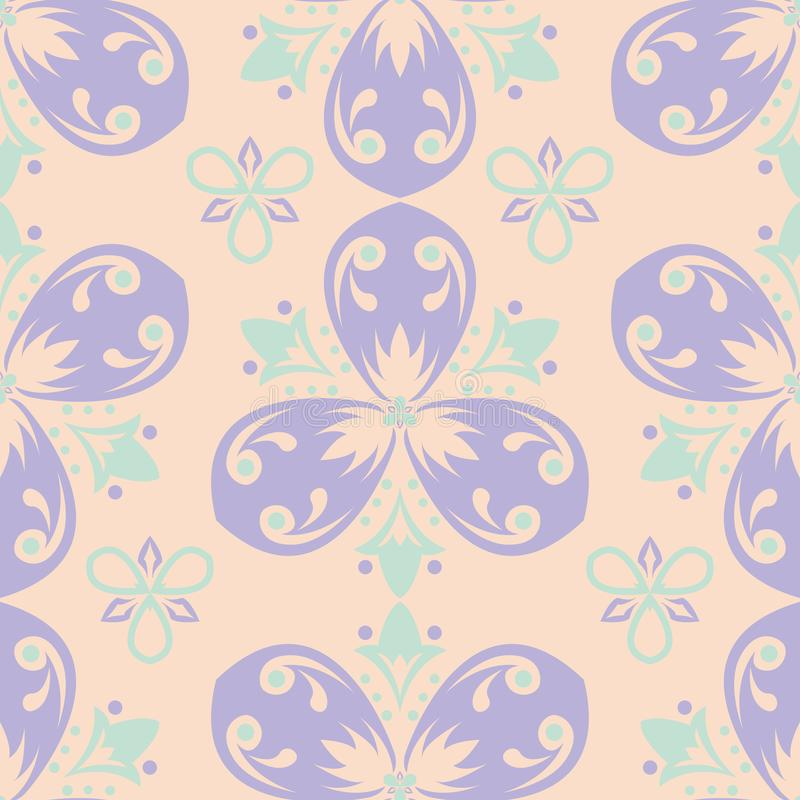 Multi colored floral seamless pattern. Beige background with violet and blue flower elements royalty free illustration