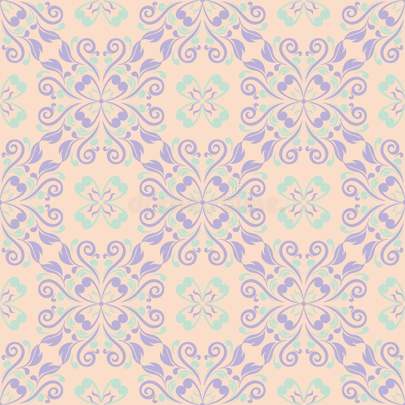 Multi colored floral seamless pattern. Beige background with violet and blue flower elements vector illustration
