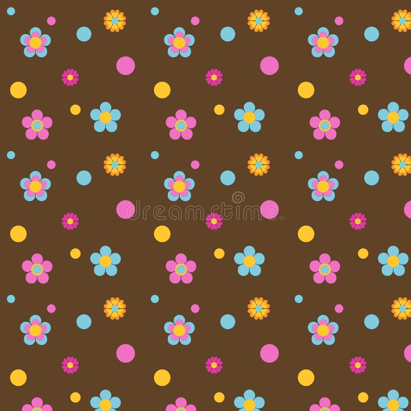Multi Colored Flowers on Brown. Multi colored flowers and polka dots on a background of brown for scrapbooking, card making, stationery or crafting royalty free illustration