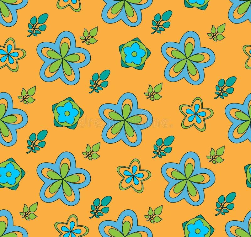 Download Multi Colored Flowers, On A Orange Background Stock Illustration - Illustration: 25238704