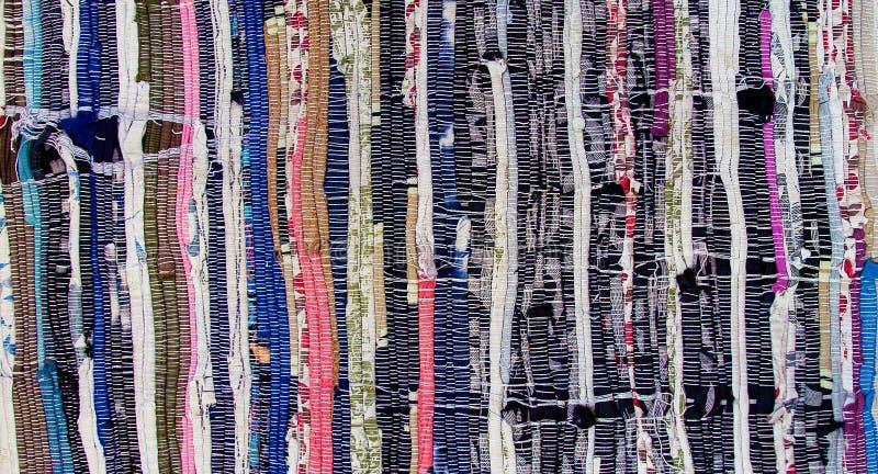 Multi-colored gestreepte die Mat van katoenen stof wordt gemaakt royalty-vrije stock foto's