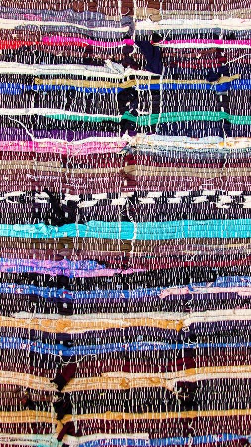 Multi-colored gestreepte die Mat van katoenen stof wordt gemaakt royalty-vrije stock fotografie