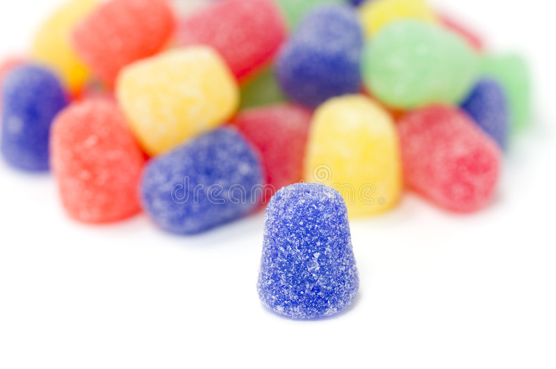 Multi-Colored Gumdrops on White royalty free stock photo