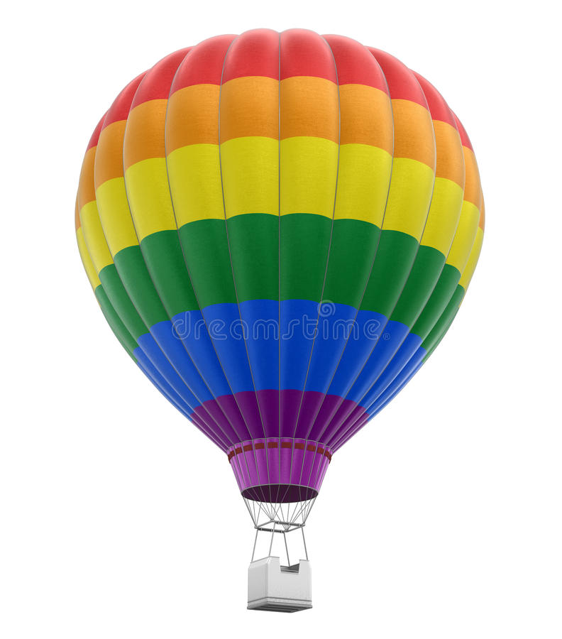 Multi Colored Hot Air Balloon stock illustration