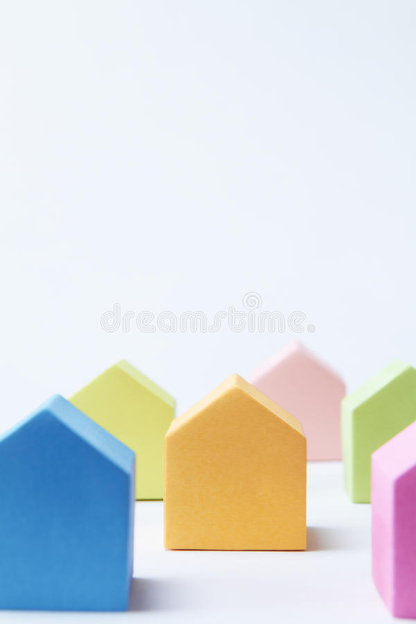 Download Multi Colored House Shaped Blocks On White Background Stock Image - Image: 28784481