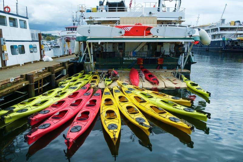 Multi-colored kajaks op het schip van de avonturencruise stock foto