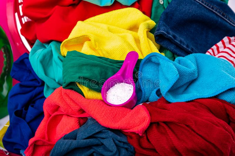 Multi-colored laundry for washing. royalty free stock photo
