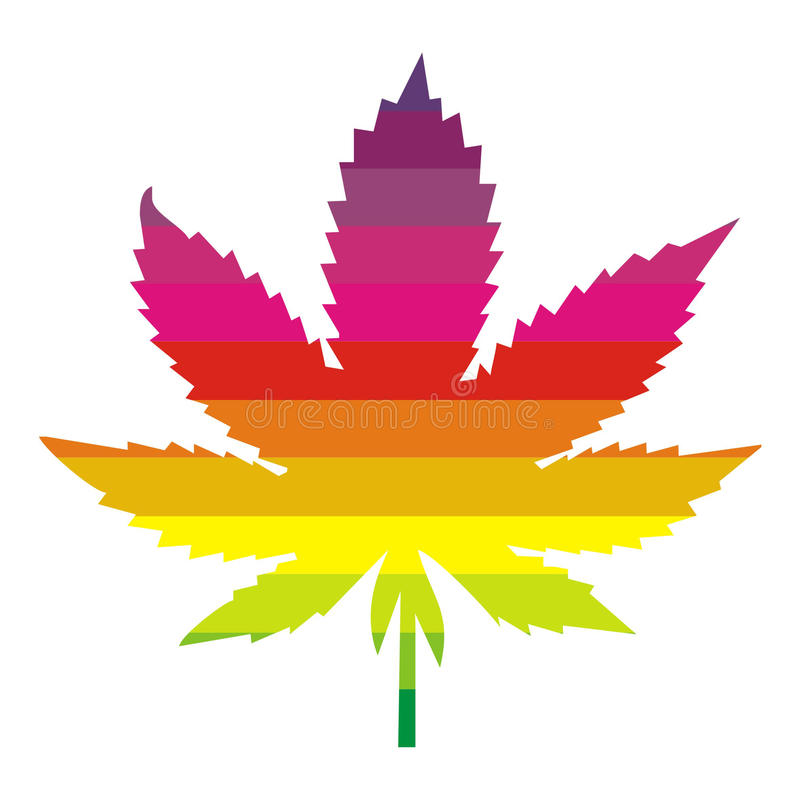 Multi colored marijuana leaf royalty free illustration